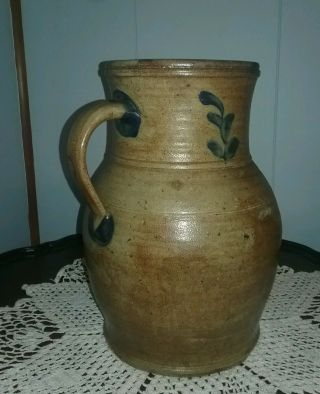 M.  T.  Miller Newport PA Attributed 2 Gallon Decorated Stoneware Pitcher 5
