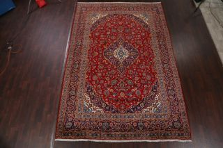 Vintage Traditional Floral Red & Navy Blue Persian Area Rug Oriental Wool 8