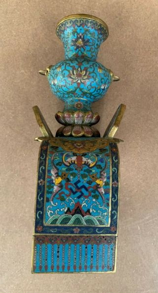 Antique Cloisonne Elephant with Stand 19th C 10