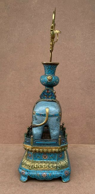 Antique Cloisonne Elephant with Stand 19th C 3