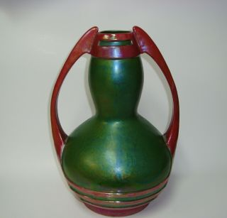 Early Antique Zsolnay Pottery Large Vase Eosin Green Art Deco