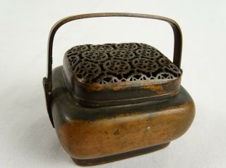 Rare Antique Chinese Bronze Hand Warmer Shou Lu Zhang Mingqi Qi Mark To Base