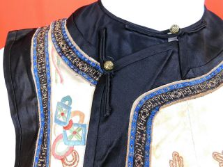 Antique Chinese Silk Embroidered Forbidden Stitch Semi Formal Vest Robe Jacket 2
