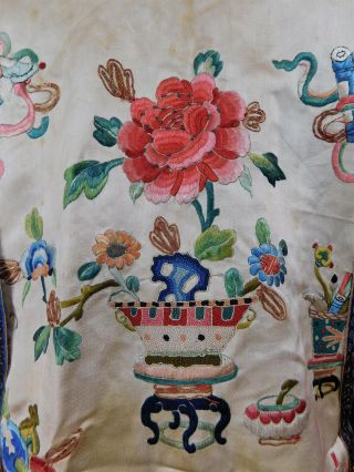 Antique Chinese Silk Embroidered Forbidden Stitch Semi Formal Vest Robe Jacket 5