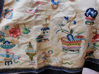 Antique Chinese Silk Embroidered Forbidden Stitch Semi Formal Vest Robe Jacket 6