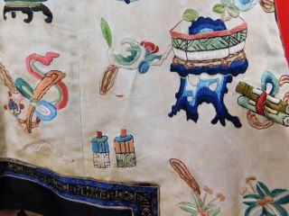 Antique Chinese Silk Embroidered Forbidden Stitch Semi Formal Vest Robe Jacket 7