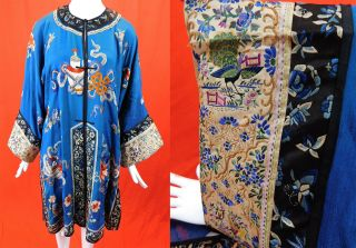 Antique Chinese Blue Silk Colorful Embroidered Long Robe Peacock Seeve Band Cuff