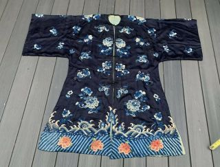 Antique Chinese Silk Embroidery Robe With Floral Designs