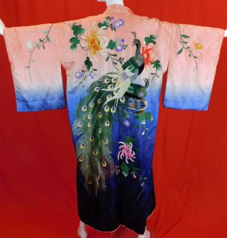 Vintage Silk Ombre Colorful Floral Peacock Embroidered Japanese Kimono Belt Robe