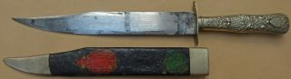 Published Patriotic Usa Etched Antique Bowie Knife E.  Barnes & Sheffield