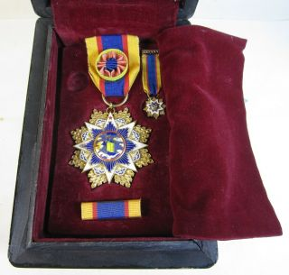 1958 China Order Of Cloud & Banner 6th Order Military Medal Named In Custom Case