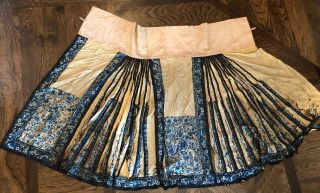 Antique Chinese Silk Hand Embroidered Panel Skirt Fine Butterflies Embroidery