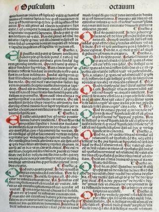 Rubricated Incunable Leaf Folio Thomas Aquinas (27) - 1490