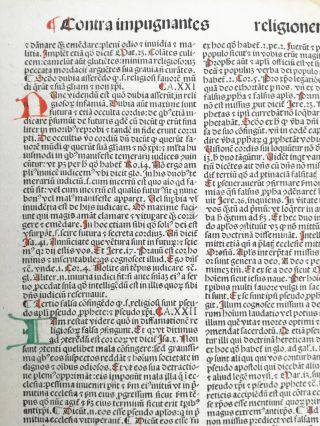 Rubricated Incunable Leaf Folio Thomas Aquinas (16) - 1490
