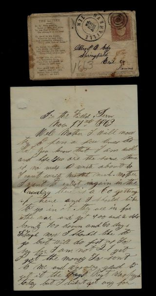 """111th Pennsylvania Infantry Civil War Letter Written """" In The Field Tennessee """""""