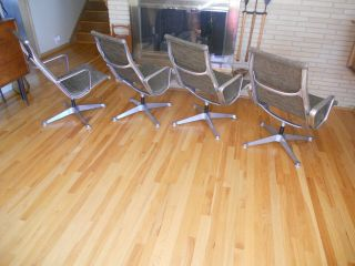 Mid Century Herman Miller Eames Aluminum Group Fabric Lounge Chair 1960