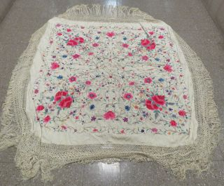 Vintage Chinese Hand Embroidered Cream,  Green,  Pink & Yellow Floral Silk Shawl.