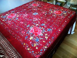 Chinese Silk Embroidered Piano Shawl Floral Peonies Vivid Colors Old