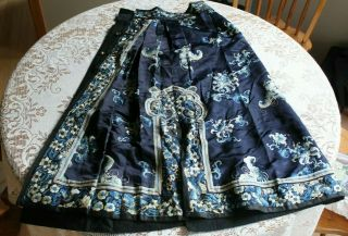 Antique Chinese Silk Embroidered Floral Skirt