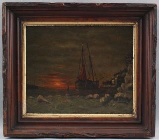 Antique American Nocturnal Tonalist Sunset Maritime Fishing Boat Oil Painting Nr