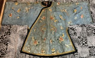 """Antique Chinese Qing Dynasty Hand Embroidery Robe Length 38 """" X Chest 52 """""""