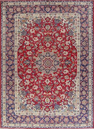 10x13 Vintage Traditional Floral Red& Blue Persian Large Area Rugs Oriental Wool