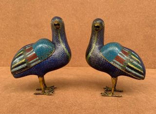 Antiques Pair Cloisonne Enamel Quail Censers & Covers 18th C