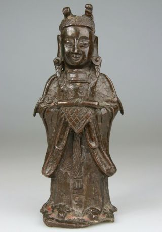 Antique Fine Chinese Bronze Buddha Statue Carved Warrior - Ming 16th 17th C