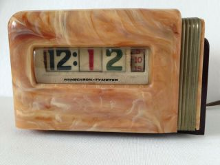 Vintage C.  1940 Art Deco Pennwood Model 300 Electric Catalin Shelf Or Desk Clock