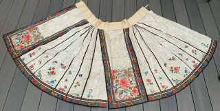 Colorful Antique Chinese Embroidery Silk Skirt With Flowers & Butterflies
