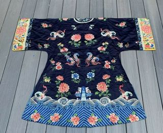 Lovely Antique 1900s Chinese Silk Embroidery Robe with Peking Flowers 10
