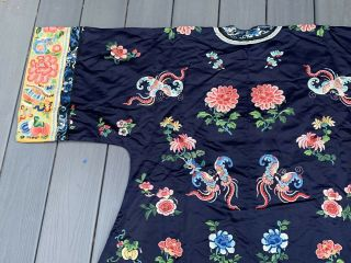 Lovely Antique 1900s Chinese Silk Embroidery Robe with Peking Flowers 12