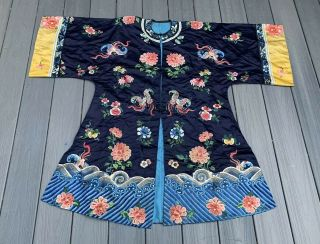 Lovely Antique 1900s Chinese Silk Embroidery Robe With Peking Flowers