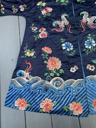 Lovely Antique 1900s Chinese Silk Embroidery Robe with Peking Flowers 2