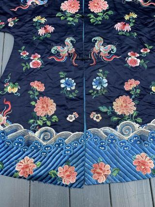 Lovely Antique 1900s Chinese Silk Embroidery Robe with Peking Flowers 3