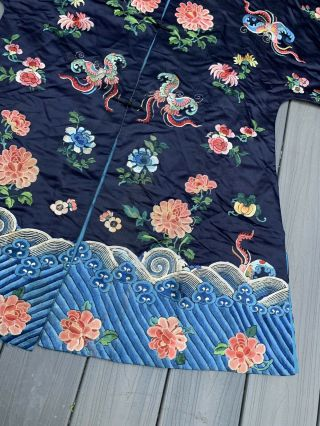 Lovely Antique 1900s Chinese Silk Embroidery Robe with Peking Flowers 4