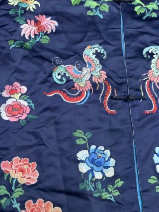 Lovely Antique 1900s Chinese Silk Embroidery Robe with Peking Flowers 5