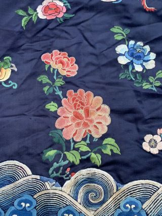 Lovely Antique 1900s Chinese Silk Embroidery Robe with Peking Flowers 6