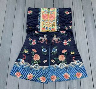 Lovely Antique 1900s Chinese Silk Embroidery Robe with Peking Flowers 8