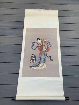 Unbelievable Antique Chinese Silk Kesi Scroll With Kwan Yin And Child