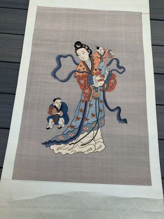 Unbelievable Antique Chinese Silk Kesi Scroll with Kwan Yin and Child 2