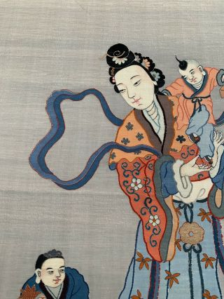 Unbelievable Antique Chinese Silk Kesi Scroll with Kwan Yin and Child 3