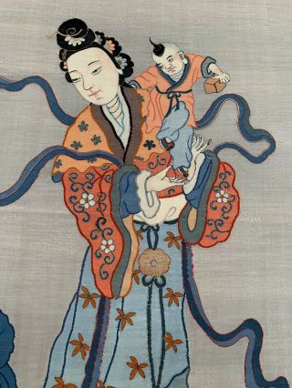 Unbelievable Antique Chinese Silk Kesi Scroll with Kwan Yin and Child 4