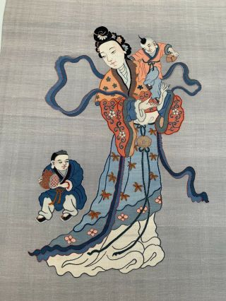 Unbelievable Antique Chinese Silk Kesi Scroll with Kwan Yin and Child 5