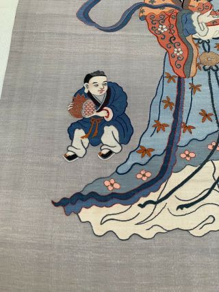 Unbelievable Antique Chinese Silk Kesi Scroll with Kwan Yin and Child 7