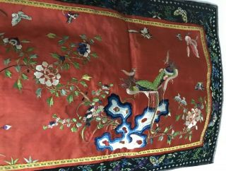 Very Fine Antique Chinese Silk Panel With Birds And Mountains