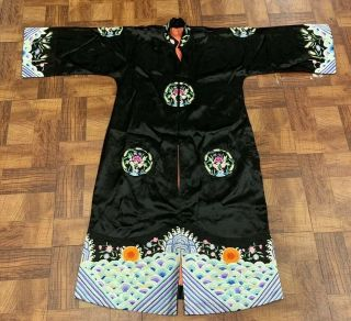 Antique Early 1900s Chinese Silk Embroidery Robe With Floral Roundels