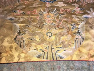 "Large Antique Chinese Silk Brocade Panel With Dragons Qing 55 "" X 57 """