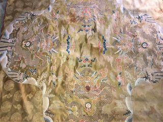 Large ANTIQUE CHINESE SILK BROCADE PANEL with DRAGONS QING 55
