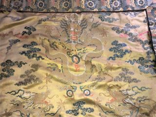 "Large Antique Chinese Silk Brocade Panel With Dragons Qing 43 "" X 57 """